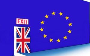 Britain exiting European Union through Union Jack door